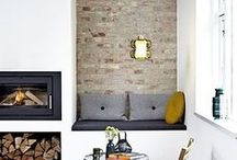 Fireplaces: The heart of the home / Fireplace use, design, layout, materials, and patterns - with a modern, mid-century, Scandinavian, or minimal design.