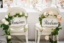 Wedding Chairs / Decorating the reception chairs of the bride and groom is a popular trend. Sometimes the guests' chairs get a fancy too!