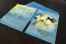 Geboortekaartje Olivia- ooievaar - Xantifee collectie / Doopsuikerinspiratie voor een sprookjesachtig geboortekaartje met een prachtige ooievaar uit de Xantifee collectie.  http://www.shop.xantifee.com/geboortekaartjes/olivia-geboortekaartje-ooievaar-wolken-zonlicht/