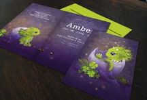 Geboortekaartje Roar- draakje - Xantifee collectie / Doopsuikerinspiratie voor een sprookjesachtig geboortekaartje uit de Xantifee collectie. http://www.shop.xantifee.com/geboortekaartjes/olivia-geboortekaartje-ooievaar-wolken-zonlicht/