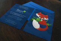 Geboortekaartje Rein- vos - Xantifee collectie / Doopsuikerinspiratie voor een geboortekaartje met een prachtige vosje met klavertje vier uit de Xantifee collectie. http://www.shop.xantifee.com/geboortekaartjes/rein/