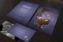 Geboortekaartje Miro - levensboom- Xantifee collectie / Doopsuikerinspiratie voor geboortekaartjes met een schattig popje uit de Xantifee collectie. http://www.shop.xantifee.com/geboortekaartjes/seppe-sara-geboortekaartje-retro-tweeling/