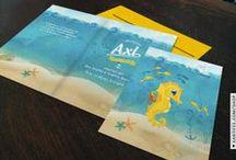 Geboortekaartje Axl - zeepaardje - Xantifee collectie / Doopsuikerinspiratie voor een sprookjesachtig geboortekaartje met een schattig zeepaardje uit de Xantifee collectie. http://www.shop.xantifee.com/geboortekaartjes/axl