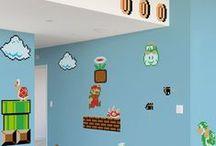 Stickers Geek et Rétro Gamers / Une collection de stickers muraux géants pour plonger dans un univers rétro-geek: Nintendo, Invaders, MegaMan, Atari ...