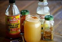 Apple Cider Vinegar - Uses & Recipes / Bragg's Apple Cider Vinegar is rich in enzymes & potassium, Organic, Raw, Certified Non-GMO, Naturally Gluten Free, Unfiltered, Unheated, Unpasteurized, 5% Acidity ~ Noted for amazing health qualities ~