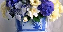 Centerpieces & Tablescapes / Floral arrangements, Table settings, esp southern style, of course hydrangeas, magnolia, and blue and white