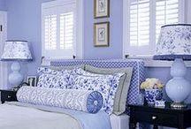 Blue and White Interiors / Cobalt, Indigo, Delft, China, Baby, Sky, Azure, Navy, Periwinkle,                                             B.L.U.E