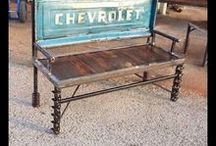 Car Part Furniture / Car auto part furniture garden benches unique by Raymond Guest at Recycled Salvage Design http://www.recycledsalvage.com