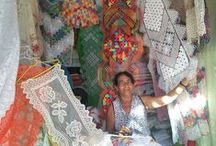 Handmade Textiles from Brazil / In Jan 2014 I travelled to Barra de São Miguel in Northeast Brazil where I visited the 'Lace-Makers Quarter'. I was mesmerised by the handcrafted textiles at the local market. Quilts, pillowcases, table runners made by hand using patterns passed from mother to daughter over generations. Their techniques are filet lace, patchwork & Richelieu.  / by Maisa Lopes Gomes de Paiva