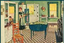 1920s Kitchen Interior Inspirations & Colours / Inspirations for kitchen dressers and colour palettes.