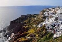 50 shades of Santorini / Beyond the classic Greek blue and white skyline, Santorini is an island of burnt orange and blood red, royal purple and butter yellow, electric green and pastel pink. - Inspired by BBC Travel article by Amanda Ruggeri