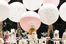 Pink and gold birthday party ideas / Pink and gold party theme ideas. Perfect for a baby girl's first birthday. So many great ideas!