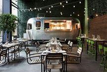 food truck + outdoor eating / food truck, courtyard, patio / by Karen G