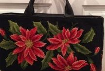 Poinsettia Needlepoint Handbag / A canvas from Dritz, the poinsettias were already stitched. All I have to do is add the background
