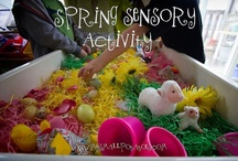 Small world and Sensory Bins ideas / Small world setups to kick start  some fantastic imaginative play for the kids. You will also find easy ( low-mess/dry) sensory play ideas. For sensorial messy fun check out our other board. / by Kids Play Box