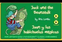 """Jack and the Beanstack - Magic Worlds / Help children learn a foreign language with Magic WorldsTM 3 Jack and the Beanstack (ages 5-7).  www.analomba.com  Long before children are interested in other countries and cultures, they are fascinated with imaginary worlds. What kid doesn't want to """"study abroad"""" in Oz or a faraway forest? Well now they can, with our Magic WorldsTM language immersion curriculum and products! Let Magic WorldsTM be their first immersion trip destination - without leaving your classroom or home!   / by Ana Lomba Early Languages LLC"""