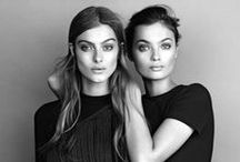 Modern Women / The modern event styling for two fashion forward women.  Beige, taupe, black, chiffon, and bronze smoky eyes.