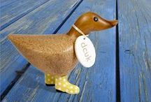 The Dcuk Collection from Woodstock Chimes / They may not be windchimes, but these adorable ducks will bring a note of joy to your home! Woodstock Chimes is proud to present the Dcuk Collection from The Duck Company in the UK. Available in three sizes, each hand carved and hand painted, with its own personality, its own name on a cotton name tag, and spotted welly rain boots. They are intended for indoor use, but can be treated for the outdoors (see care instructions on website). Charming and irresistible! / by Woodstock Chimes