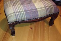 Reupholstered Footstool by Claire / Stripped & reupholstered