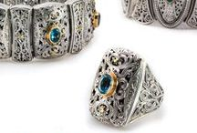 Filigree collection / Gerochristo Jewelry, bracelets, earrings, rings,pendants in 18k solid yellow gold, sterling silver and natural stones