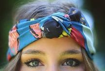 beauty: bandanna hair / Chic and quirky hairstyles inspiration with hair wrapped up in a bandanna or scarf.