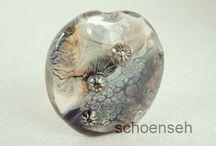 Lampwork Beads, Sonja Hentschel, u. Holz