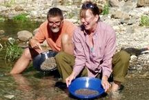 Gold rush / Pan for gold, gold panning, lookin' fer gold.....Let's get rich!  Vacation gold panning!