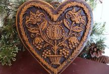 Folk Hearts / Furniture, fraktur, wool-if it has heart (or hearts), it is on this board.