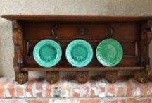 Antique European Wall Shelves, Hall Trees, Copper Pot Racks