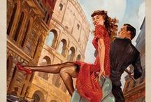 Romantic Travel Collection / This series of romantic travel art is made from original oil paintings by artist Kai Carpenter. Styled in an Art Deco flair, these adventurous scenes are sure to bring a smile and a smooch to any classic poster art lover! / by Anderson Design Group