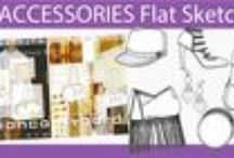 Accessories Flat Sketches / Wallet, handbag, cosmetic case and small leather good in Adobe Illustrator flat Fashion Sketches....