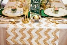 Wedding Table Runners / Wedding table runners add an extra layer of style to reception tables.  What a wonderful way to enhance your wedding theme by adding a table runner that suits it.