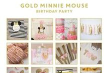 Party | Gold & Light Pink Minnie / Ideas for a Gold and Light Pink Minnie Mouse Birthday Party