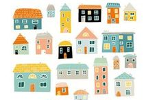 illustration - houses and buildings