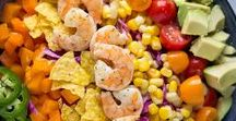 Salads / Salads of all kinds, including pasta salad, fruit salad, and green salad.