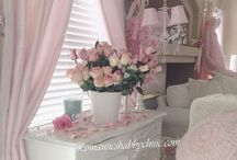 ~ Shabby Country Cottage ~ / Shabby chic balances elegant and beautiful items with the old and worn.  It incorporates lacy fabrics, feminine florals and soft pastel colors with painted wood furniture, soft throw rugs and silver accessories.