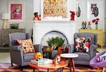 INTERIOR DESIGN / Organized Clutter, Lots of Colour, Clashing Patterns, Typography & Velvet Sofas / by Alex D