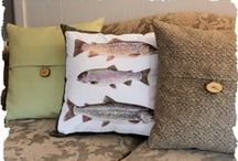 Lake Inspired Pillows / Pillows made for lake inspired décor featuring fish, aquatic birds, and maps of lake areas in Maine.
