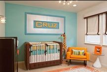 Aqua & Orange Boy's Nursery by Little Crown Interiors / A retro modern nursery with aqua and orange, designed by Little Crown Interiors in Orange County, CA.