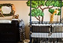 Olive Green Safari Nursery by Little Crown Interiors / Safari nursery with zebra, giraffe and monkey, designed by Little Crown Interiors in Orange County, CA.