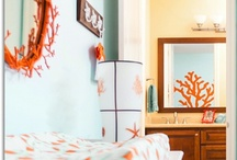 Blue & Orange Beach Nursery by Little Crown Interiors / Vintage beach nursery with pale aqua and orange, designed by Little Crown Interiors in Orange County, CA.