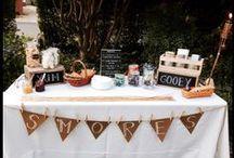 Twilight Garden Party / s'mores bar, outdoor strung lighting, bbq, picnic tables,