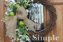 Front Door Decor / Pretty wreaths and front door decorating.