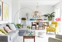 Home Decor / Collections of design inspiration for our new home; drapes, lighting, paint colours, rugs, art, cushions, bedding, flooring, bar stools, furniture, housewares...