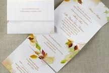 Fall Wedding Theme Ideas / All ideas related to a fall wedding theme - from your bouquet, cake, flowers & decorations to fall wedding invitations - www.PrintedCreationsWeddingStore.com. #fallwedding