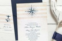 Nautical Wedding Theme / Creative ideas for a nautical wedding theme - from your bouquet, cake, flowers & decorations to nautical wedding invitations - www.PrintedCreationsWeddingStore.com. #nauticalwedding