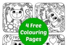 "Free Coloring Pages / My kids adore colouring pages and they can be a pleasant ""quick distraction"". You can also use colouring pages to make sun catchers, memory cards, snap cards or make topic books. You can use watercolours, pens, crayons and mix media.. a colouring page, is not JUST a colouring page!!"