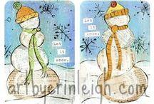 Christmas art journal ideas / Christmas art journaling