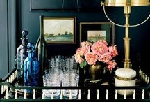 Bar Carts / A small table on wheels, usually portable, outfitted for serving drinks / by Deette Kearns