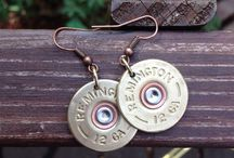 Brass & Bling-Bullet Jewelry made by me / Shotgun, Bullet, Ammo jewelry Earrings, necklaces, bracelets  / by Jenni O'Crowley